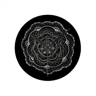 Delicate Floral Doilie Doodle Round Clock