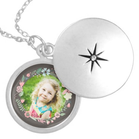 Delicate Floral Frame Custom Photo Locket Necklace