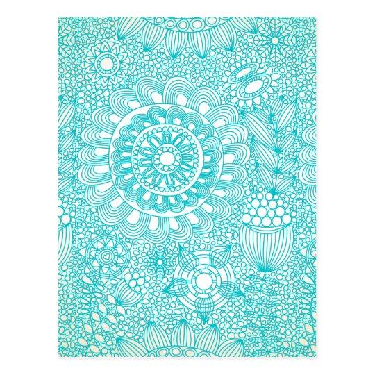 delicate floral lattice pattern postcard