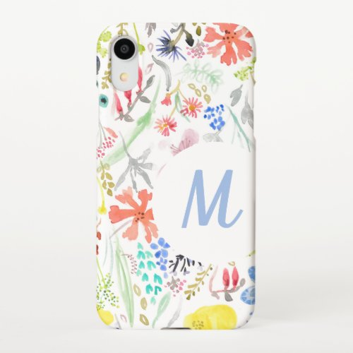 Delicate floral painted wild flowers iPhone XR case