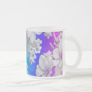 Delicate floral pattern,rainbow (I) 10 Oz Frosted Glass Coffee Mug