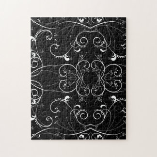 Delicate Floral Repeating Pattern in White on Blac Jigsaw Puzzle