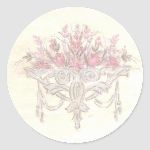 Delicate Floral Round Stickers