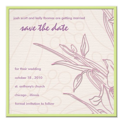 Delicate floral save the date card