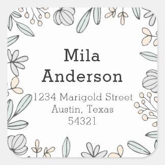 Delicate Floral Square Address Label
