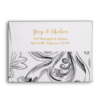 Delicate Floral Wedding Invitation Envelope