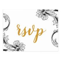 Delicate Floral Wedding Invitations rsvp Postcard