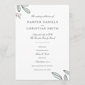 Delicate Floral Wedding Program