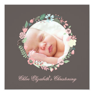 Delicate Floral Wreath Christening Card