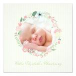 "Delicate Floral Wreath Christening 5.25"" Square Invitation Card"