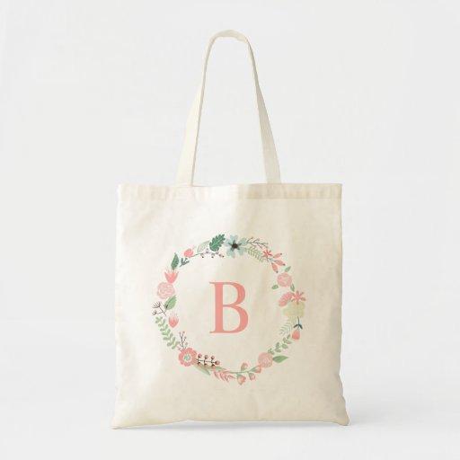 Delicate Floral Wreath Custom Monogrammed Canvas Bag