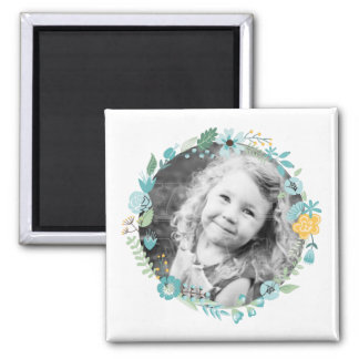 Delicate Floral Wreath Custom Photo 2 Inch Square Magnet