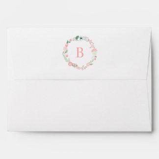 Delicate Floral Wreath Monogram Envelope