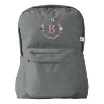 Delicate Floral Wreath Monogrammed Backpack