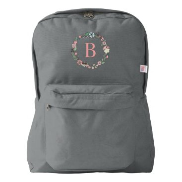heartlocked Delicate Floral Wreath Monogrammed Backpack