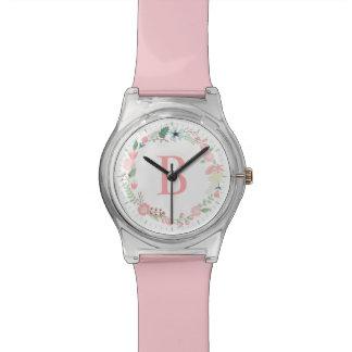 Delicate Floral Wreath Pink Monogram Wristwatch