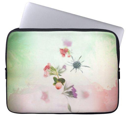 Delicate Flower Buds on Watercolor Laptop Sleeve