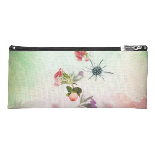Delicate Flower Buds on Watercolor Pencil Case
