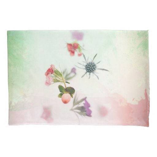 Delicate Flower Buds on Watercolor Pillow Case
