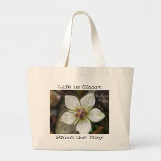 Delicate Flower on the Rocks; Customizable Large Tote Bag