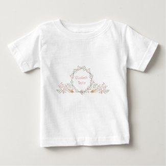 Delicate Flowers and Feathers Monogram Baby T-Shirt