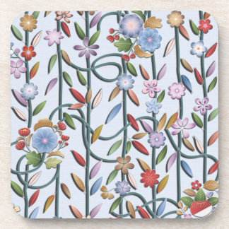 Delicate flowers and vines beverage coaster
