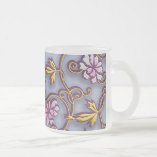 Delicate flowers arabesque frosted glass coffee mug