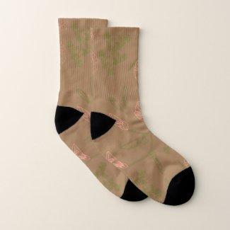 Delicate Flowers Brown Socks