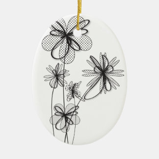 Delicate Flowers Ceramic Ornament