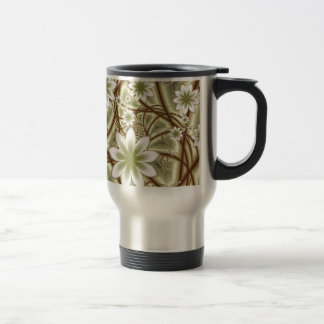 Delicate Fractal Flowers Travel Mug