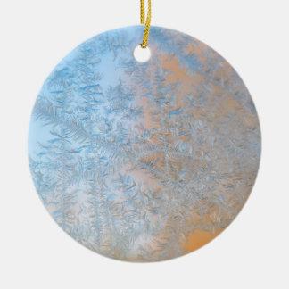 Delicate frost pattern, Wisconsin Ceramic Ornament