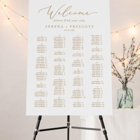 Delicate Gold Alphabetical Wedding Seating Chart Foam Board