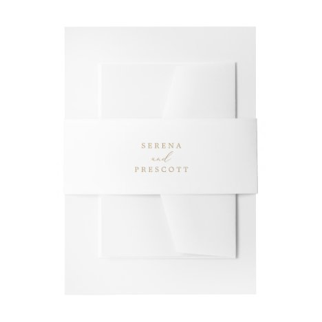 Delicate Gold Calligraphy Bride and Groom Wedding Invitation Belly Band