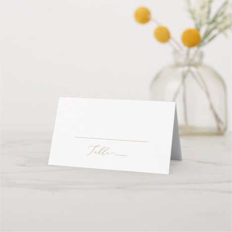 Delicate Gold Calligraphy Monogram Folded Wedding Place Card