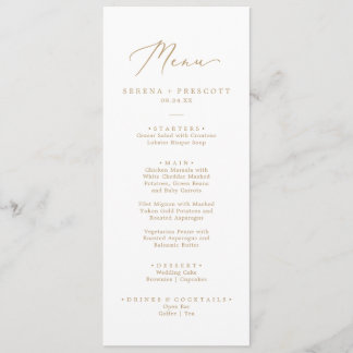 Delicate Gold Calligraphy Wedding Dinner Menu