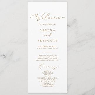 Delicate Gold Calligraphy Wedding Program