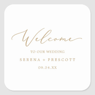 Delicate Gold Calligraphy Wedding Welcome Square Sticker