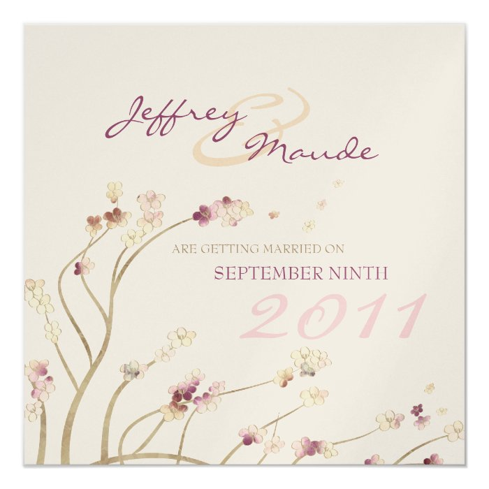 Delicate Gold Cherry Blossom Save the Date Card
