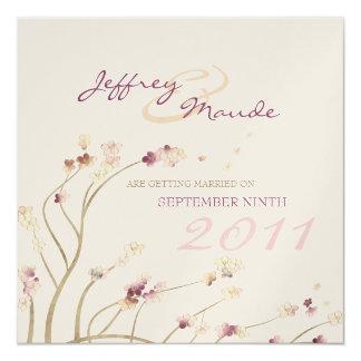 Delicate Gold Cherry Blossom Save the Date 5.25x5.25 Square Paper Invitation Card