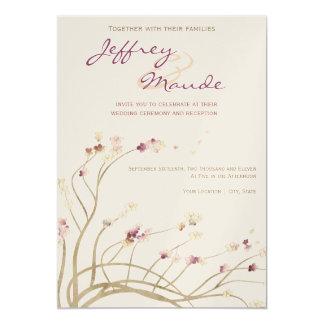 """Delicate Gold Cherry Blossom Wedding Invitation 5"""" X 7"""" Invitation Card"""