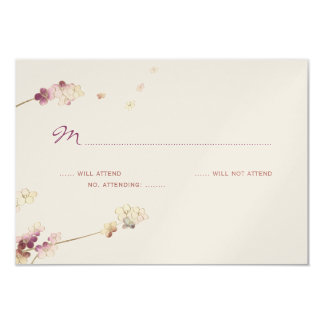 Delicate Gold Cherry Blossom Wedding RSVP Card
