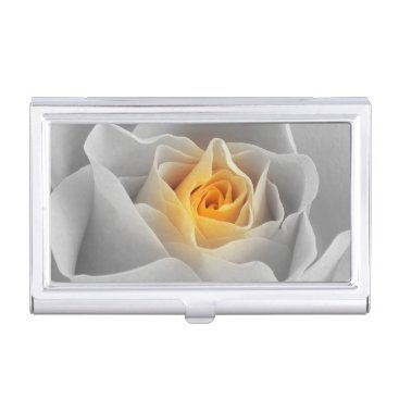 Professional Business Delicate Gray Rose Business Card Case