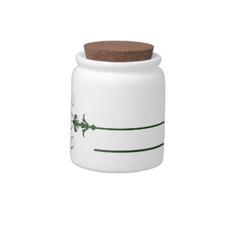 Delicate Green Flora Candy Jar