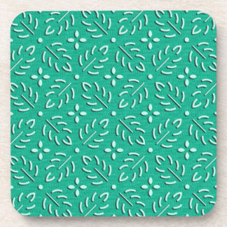 Delicate green leaves japanese pattern drink coaster