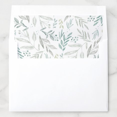 Delicate Greenery Foliage Hand drawn Pattern Envelope Liner