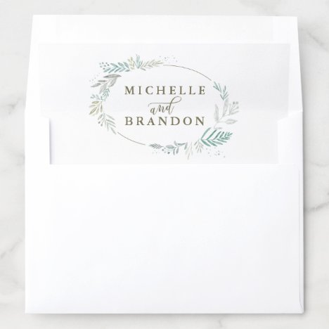 Delicate Greenery Personalized Names | Wedding Envelope Liner