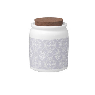 Delicate Grey Damask Pattern Candy Jars