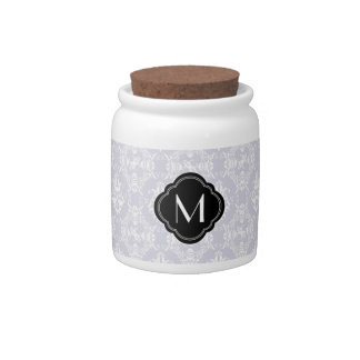 Delicate Grey Damask Pattern with Monogram Candy Jar