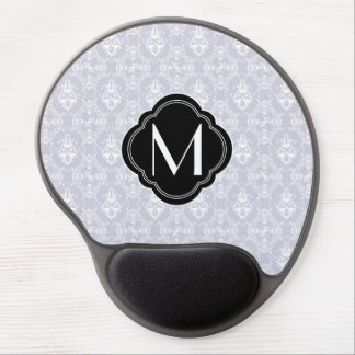 Delicate Grey Damask Pattern with Monogram Gel Mouse Pad