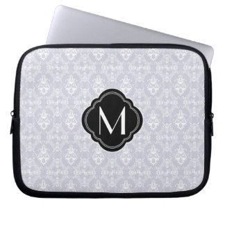 Delicate Grey Damask Pattern with Monogram Laptop Sleeves